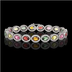 14.25 CTW Multi Color Sapphire & Diamond Bracelet 10K White Gold - REF-304H5M - 40892