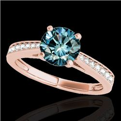 1.25 CTW SI Certified Fancy Blue Diamond Solitaire Ring 10K Rose Gold - REF-158F2N - 35011