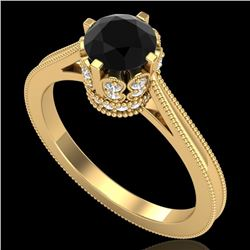 1.14 CTW Fancy Black Diamond Solitaire Engagement Art Deco Ring 18K Yellow Gold - REF-94N5A - 37340