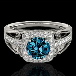 1.30 CTW SI Certified Fancy Blue Diamond Solitaire Halo Ring 10K White Gold - REF-165N6A - 33774