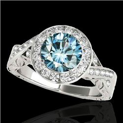 1.75 CTW SI Certified Fancy Blue Diamond Solitaire Halo Ring 10K White Gold - REF-263H6M - 34527