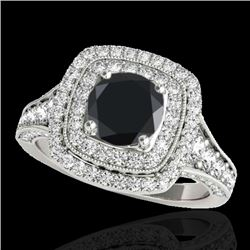 2 CTW Certified VS Black Diamond Solitaire Halo Ring 10K White Gold - REF-114K5W - 33655