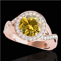 2 CTW Certified SI/I Fancy Intense Yellow Diamond Solitaire Halo Ring 10K Rose Gold - REF-241F5N - 3