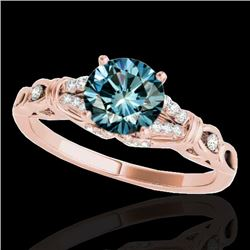 1.20 CTW SI Certified Fancy Blue Diamond Solitaire Ring 10K Rose Gold - REF-156X4R - 35256