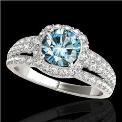 2.25 CTW SI Certified Fancy Blue Diamond Solitaire Halo Ring 10K White Gold - REF-245N5A - 34012