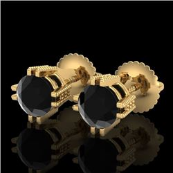1.07 CTW Fancy Black Diamond Solitaire Art Deco Stud Earrings 18K Yellow Gold - REF-85A5V - 37536