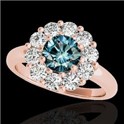 2.09 CTW SI Certified Fancy Blue Diamond Solitaire Halo Ring 10K Rose Gold - REF-209A3V - 34429