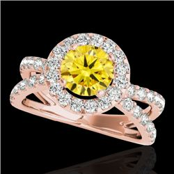 2.01 CTW Certified SI/I Fancy Intense Yellow Diamond Solitaire Halo Ring 10K Rose Gold - REF-209K3W