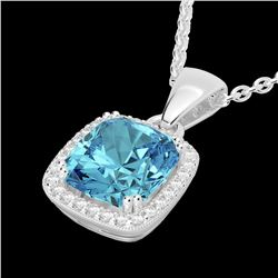 3.50 CTW Sky Blue Topaz & Micro VS/SI Diamond Halo Necklace 18K White Gold - REF-51N6A - 22832