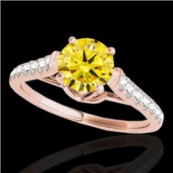 1.46 CTW Certified SI/I Fancy Intense Yellow Diamond Solitaire Ring 10K Rose Gold - REF-163N6A - 349