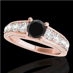 3.05 CTW Certified VS Black Diamond Solitaire Ring 10K Rose Gold - REF-161F8N - 35520