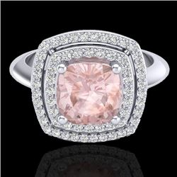 1.92 CTW Morganite & Micro VS/SI Diamond Certified Pave Halo Ring 18K White Gold - REF-72N5A - 20765