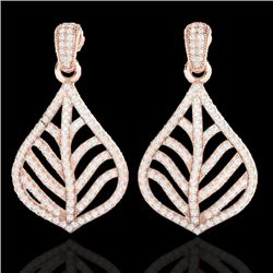 2.50 CTW Micro Pave VS/SI Diamond Certified Earrings Designer 14K Rose Gold - REF-221V8Y - 21150
