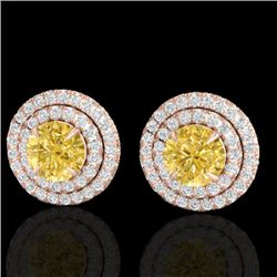 2 CTW Citrine & Micro Pave VS/SI Diamond Stud Earrings Double Halo 14K Rose Gold - REF-79Y8X - 21466