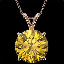 2.50 CTW Certified Intense Yellow SI Diamond Solitaire Necklace 10K Rose Gold - REF-687K2W - 33249