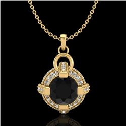1.57 CTW Fancy Black Diamond Solitaire Micro Pave Stud Necklace 18K Yellow Gold - REF-106X4R - 37634