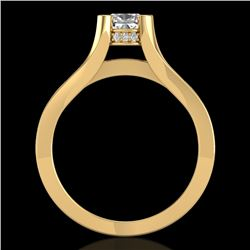1.70 CTW Cushion VS/SI Diamond Solitaire Micro Pave Ring 18K Yellow Gold - REF-472A7V - 37165