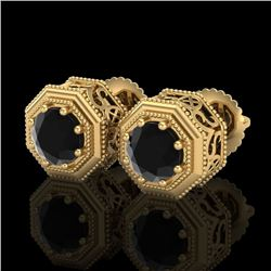 1.07 CTW Fancy Black Diamond Solitaire Art Deco Stud Earrings 18K Yellow Gold - REF-72W7H - 37935