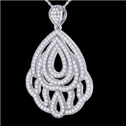 1.50 CTW Micro Pave VS/SI Diamond Necklace Designer 18K White Gold - REF-154N7A - 21281