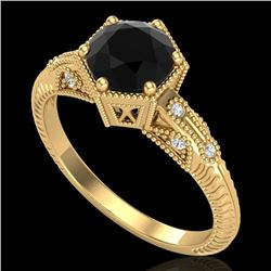 1.17 CTW Fancy Black Diamond Solitaire Engagement Art Deco Ring 18K Yellow Gold - REF-85N5A - 38033