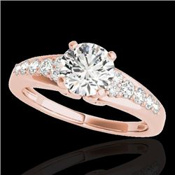 1.40 CTW H-SI/I Certified Diamond Solitaire Ring 10K Rose Gold - REF-218F2N - 34997