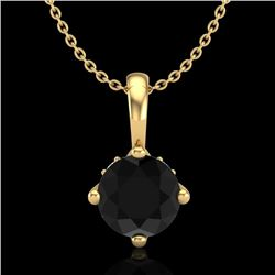 0.82 CTW Fancy Black Diamond Solitaire Art Deco Stud Necklace 18K Yellow Gold - REF-63A6V - 37802