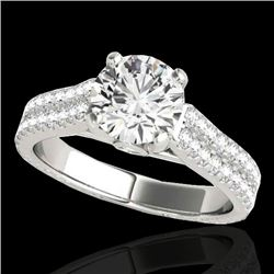 1.61 CTW H-SI/I Certified Diamond Pave Ring 10K White Gold - REF-180H2M - 35457