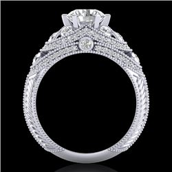2 CTW VS/SI Diamond Solitaire Art Deco Ring 18K White Gold - REF-480W2H - 37112