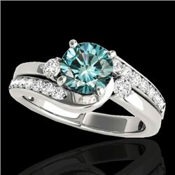 1.50 CTW SI Certified Fancy Blue Diamond Bypass Solitaire Ring 10K White Gold - REF-180Y2X - 35095