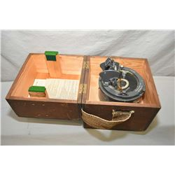Wooden Cased Navigation Compass w/ built in sighting transit. Includes instructions, Type # 02A, com