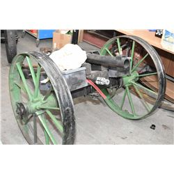 "Large Hand Made Breech Loading 2 ""Bore Cannon Approx 34"" Barrel, 51"" Wide, 77 "" Over All Length, 32"""