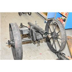 """Large Hand Made Breech Loading 2"""" Bore Cannon ,Overall Length 62"""", Barrel 29"""", Wheel 26"""" with ammo b"""