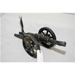"Hand Made Breech Loading 1"" Bore Cannon, w/ 7 "" bbl, Overall Length 14"", 6"" Diameter Wheels, 3/4"" wi"