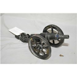 "Hand Made Breech Loading 1"" Bore Cannon w/ Approx. 7"" bbl, 6"" wheels, 3/4"" width , Overall Length 14"
