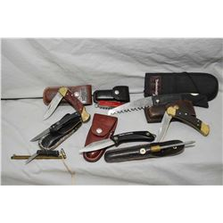 Bag Lot : Assorted Folding Pocket Knives : Bear Folding Saw in Browning case - Blackie Collins w/ le