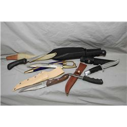 Bag Lot : Six Knives : Buck Model 119 w/ leather case - Large Canada Ammo with web case - Cobra w/ l