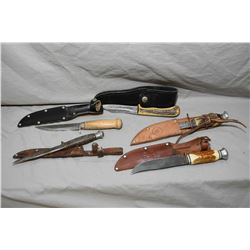 Bag Lot : Five Knives : Solingen Mod 2109 with stag handle & leather case - Old Stag Handle w/ leath