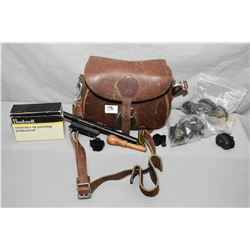 Tray Lot : Heavy Leather Bag : Various trigger and cable locks w/keys - Set of Rings - Weaver B4 Sco