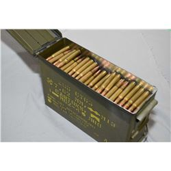 Small Green Metal Military Ammo Box : Full of .30 - 06 Cal Reloads
