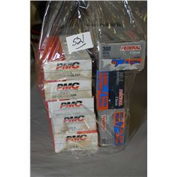 Bag Lot : Five Boxes ( 20 rnds per ) .308 Win Cal Ammo - Three Boxes ( 24 rnds per ) .308 Win Cal Am