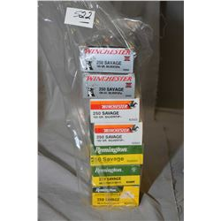 Bag Lot : Seven Boxes ( 20 rnds per ) .250 Sav Cal Ammo