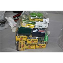 Bag Lot : Eleven Boxes ( 50 rnds per ) .38 S & W Cal & .38 Spec Cal Ammo