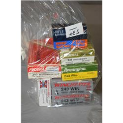 Bag : Approx. Seven Boxes ( 20 rnds per ) .243 Win Cal Ammo
