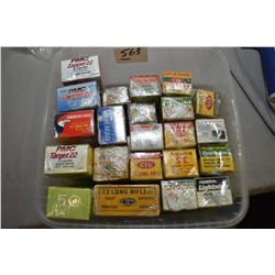 Plastic Tray : Approx. Twenty Boxes Plus Collector's .22 Cal Ammo