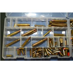 Lot of Four Plastic Trays of Collector's Ammo & Brass : w/ index cards of listing