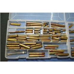 Lot of Four Plastic Trays of Collector's Ammo & Brass with Pkg of Index Cards of listing