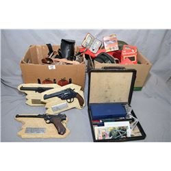 Lot of Two Large Boxes : Assorted Leather Holsters, Pouch w/hand cuffs, belt & holster, ammo belt, l