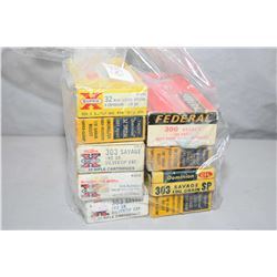 Bag Lot : Five Boxes .303 Sav Cal Ammo ( 20 rnds per ) - Two Boxes ( 20 rnds ) .303 Savage - One Box