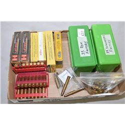 Tray Lot : 100 Plus Rnds .35 Rem Cal Ammo in green pkgs - Approx. 6 Boxes .35 Rem Ammo Appears Facto
