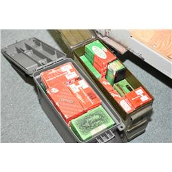 Lot of Two Small Green Ammo Boxes ( one plastic, one metal ) : Full of .264 Dim Bullets - .224 Diam